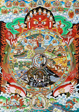 "32""Mineral Color Buddhist Thangka Bhavacakra Samsara - Wheel of Life Silk Scroll"