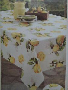 """Limoncello Easy Care Yellow Lemon Oblong Tablecloth 52"""" x 70"""" / 132 cm x 178 cm"""