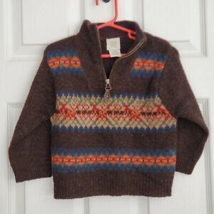 Vintage Gap Child's 100% Shetland Wool Sweater XXS Brown Nordic Zipper Neck Fall