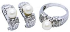 NATURAL PEARL & FINE DIAMONDS 14 KT EARRING, RING SET RING & EARRINGS NICE!!