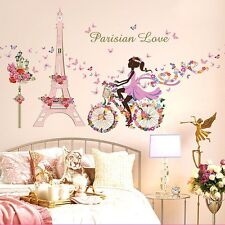 Girl Flower Bicycle Vinyl Decal Art Mural Wall Sticker Removable Home Room Decor