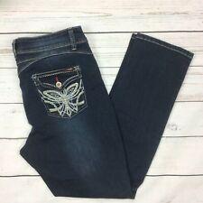 Angels Slim Jeans Size 14 Womens Dark Wash Stretch Button Flap Pockets