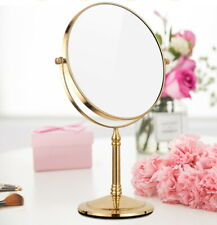 Gold Color Brass Bathroom Shaving Beauty Makeup Magnify Mirror Dual Side mba641