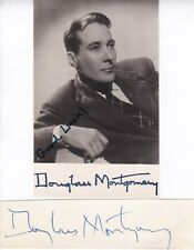 DOUGLAS MONTGOMERY- AMERICAN FILM ACTOR - SIGNED PAGE   + PHOTO - AFTAL/UACC RD