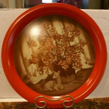 Vintage Round Metal Serving Tray with Deer & Floral Plant Design Red 13 3/8""
