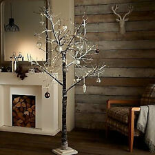 48 LED WARM WHITE 5FT 150cm WHITE SNOWY PRE LIT CHRISTMAS TWIG TREE SHABBY CHIC