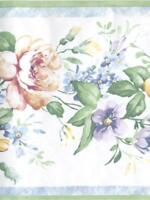 FLORAL ON WHITE WITH GREEN AND BLUE TRIM WALLPAPER BORDER