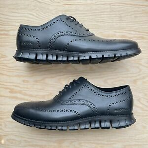 New Cole Haan ZEROGRAND Wingtip Oxford US 10.5 Black on Black Leather C20719