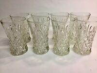 8 Vintage 1950s Heavy Cut Crystal Highball Cocktail Glasses Tumblers Barware