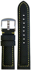 20mm Panatime Black Carbon Fiber Style Watch Band w/Yellow Stitch 125/75 20/18