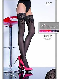 FIORE SIMONA  PATTERNED TOP HOLD UP STOCKINGS 3 SIZE FINE EUROPEAN HOSIERY BLACK