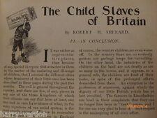 Child Slavery Slaves Slave Britain Edwardian Mines Morality NSPCC Article 1904