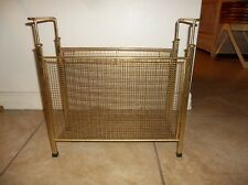 VINTAGE MID CENTURY MAGAZINE RECORD ALBUM STAND RACK GOLD MESH ATOMIC HOLLYWOOD
