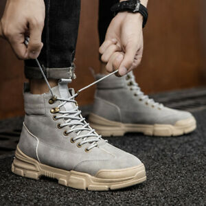 Mens Fashion Style Ankle Riding Boots Casual Outdoor Lace Up Comfortable Shoes