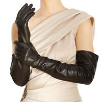 """lady opera  long 22.8"""" long real sheep leather evening black gloves"""