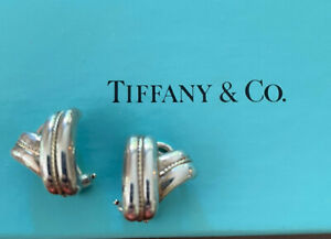 Tiffany & Co. Huggie Earrings Signature Collection Sterling and 18k Clip
