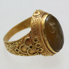 Circa 400-700 AD Gold Electrum Sasanian Seal Ring With Aged Intaglio Stone