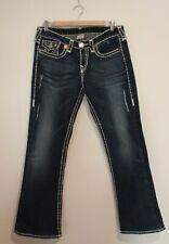 TRUE RELIGION ~ Dark Blue Distressed Denim Boot Cut Becky Super T Jeans 31