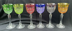 """Set of 6 Cut to Clear Crystal Multi-Color Wine Goblets Glasses 8.25""""H Bohemia?"""