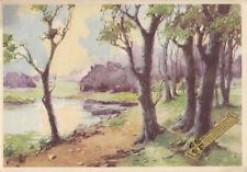 Postcard art pond landscape 1943
