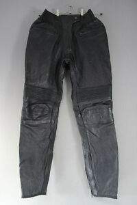 CLASSIC BLACK LEATHER BIKERS GEAR TROUSERS: WAIST 30 INCHES/INSIDE LEG 32 INCHES