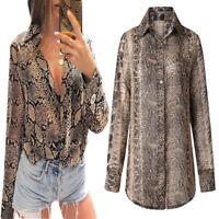 Women Snake Print Chiffon Long Sleeve Blouse V-Neck Fashion Shirts Tops T-shirt
