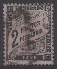 """FRANCE STAMP TIMBRE TAXE N° 23 """" TYPE DUVAL 2 FRANCS NOIR """" OBLITERE TB  N173"""
