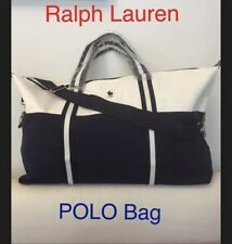 RALPH LAUREN Polo Mens Weekend Holdall Duffel Sports Travel Bag Navy & White NEW