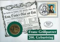 Numisbrief 200. Geb. Franz Grillparzer 20 Schilling Stempel 1991  Österreich