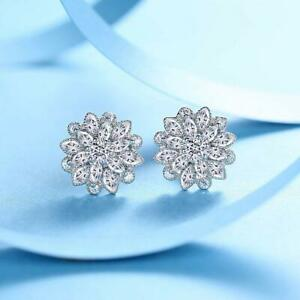 Silver Flower Stud Earrings 5mm Small Crystal Made with Elements
