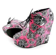 Iron Fist Bright Light Pink Wedge Heels Size 5 Boots Skull Punk Rose Tattoo Goth