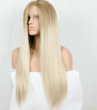 Natural Brown Platinum Ash Blonde Hair Lace Front Wig Long Straight Ombre Hair