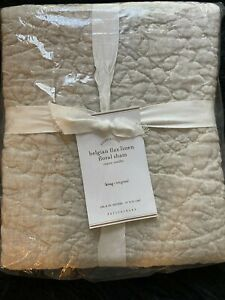 POTTERY BARN Belgian Flax Linen Beige Floral King Sham. NEW WITH TAG