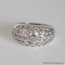 Bague Or Gris 18k 750 Pavage Diamants -5.90grs - 54 - Bijoux occasion