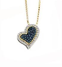 Cute 100% Genuine 10K Yellow Gold Blue & White Diamond Heart Slide Pendant .14ct