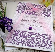"Large Handmade Personalised Purple Congratulations Wedding Card ""Damask"""