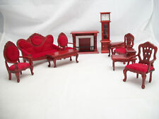 Living Room Set Victorian red dollhouse T0001  wood  1/12 scale miniature