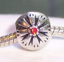 Red Rhinestone July Birthstone Flower Bead for Silver European Charm Bracelets