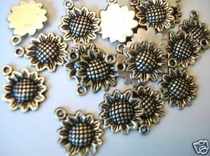 20 Sun Flower Silver Plated Charm/embellishment/Paper Craft/Scrapbooking/Tag K35