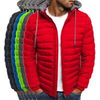Men's Lightweight Hooded Windproof Warm Padded Jacket Zipper Solid Coat New LO