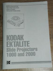 Originale Bedienungsanleitung für Diaprojektor Kodak Ektalite 1000 und 2000 Top!