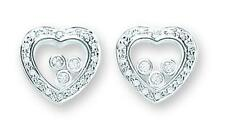 Sterling Silver Floating CZ Heart Stud Earrings,925,Butterfly,SER0263,
