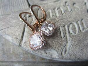 CZ 925 CN RJ Rose Gold Plate on Sterling Silver Cubic Zirconia Gemstone EARRINGS