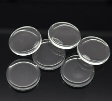 10 Round Circle Flat Disc Clear Glass Cabochons Jewellery Making 25mm (020)