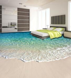 New Floor Mural Photo Wallpaper 3D Seawater Wave Flooring Sticker Bathroom Wear
