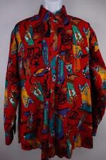PANHANDLE SLIM VTG Western Cowboy Rodeo PEARL SNAP Shirt Red Navajo Mens L