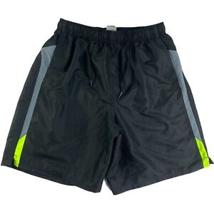 Nike Swim Shorts Black Drawstring Hook & Loop Pocket Polyester Men L Lined 9""