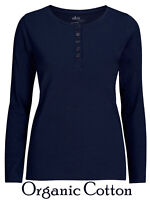 Ladies Navy Amira Organic Cotton Long Sleeve Button Front T-Shirt Top.Sizes:8-26
