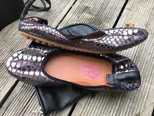 Rollbab Bronze Amarus Damen glänzende Schlange Faltbare Ballerinas Flache Schuhe