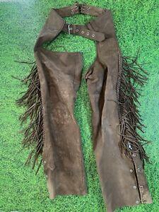 Vintage FIRST Genuine Leather Motorcycle Biker Pants Brown Sz M Distressed